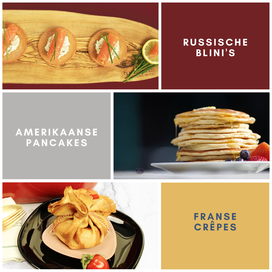russische blini's amerikaanse pancakes franse crêpes