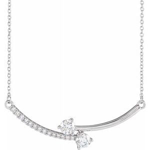 Lab-Grown Diamond Two-Stone Bar Necklace