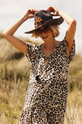 Grove Midi Babydoll Dress - Leopard