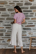 Epic Frill Culotte Pants - Natural Linen