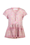 Grove Frill Blouse - Pink Flamingo