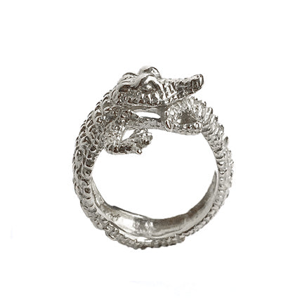 Crocodile ring/ silver