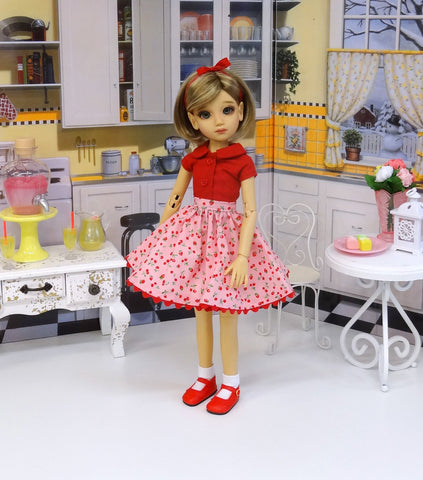 Cherry Berries - blouse & skirt for 45cm BJD