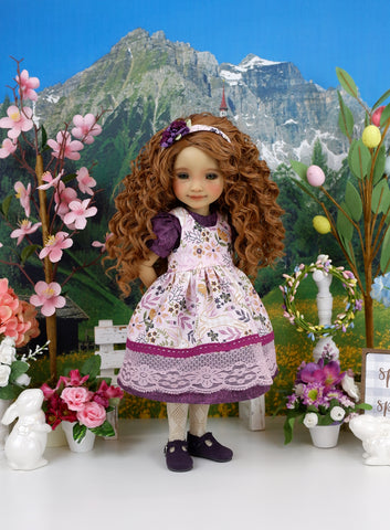 Country Rabbit - dress & pinafore with shoes for Ruby Red Fashion Friends doll