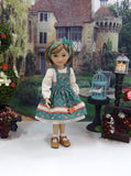 English Meadow - dress & apron for Ruby Red Fashion Friends doll