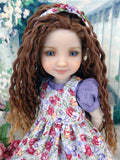 February Blooms - dress & pinafore with shoes for Ruby Red Fashion Friends doll