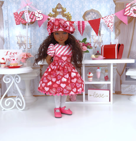 Fluttering Hearts - dress ensemble with shoes for Ruby Red Fashion Friends doll