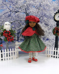 Glittering Holly - dress & capelet ensemble for Ruby Red Fashion Friends doll