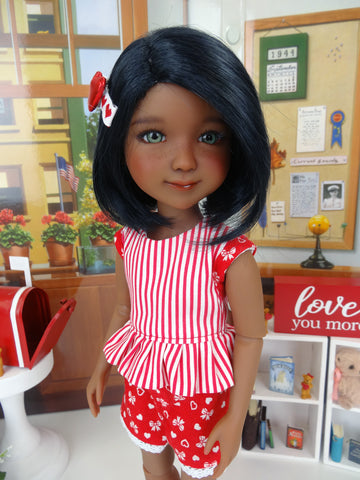 Hearts & Bows - top & shorts with shoes for Ruby Red Fashion Friends doll
