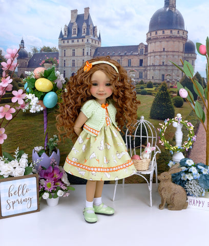 Little Garden Bunny - dress and sweater with shoes for Ruby Red Fashion Friends doll