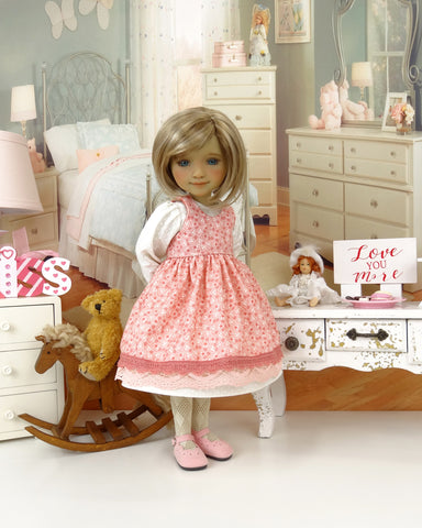 Love is Kind - dress & pinafore with shoes for Ruby Red Fashion Friends doll