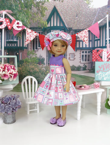 Love Letters - dress ensemble with shoes for Ruby Red Fashion Friends doll