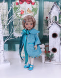 Mid Century Snowflakes - dress and coat with shoes for Ruby Red Fashion Friends doll