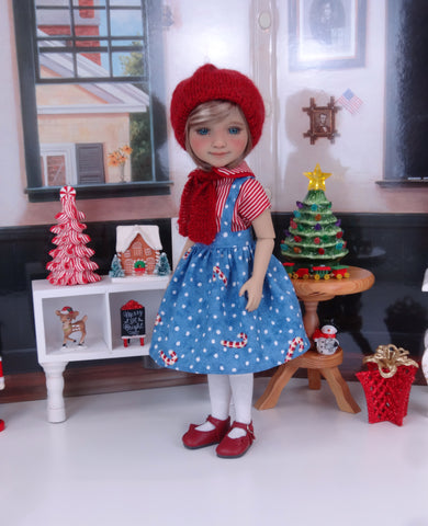 Miss Candy Cane - blouse & jumper with shoes for Ruby Red Fashion Friends doll