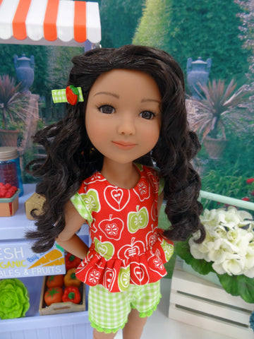 Orchard Apples - top & shorts for Ruby Red Fashion Friends doll