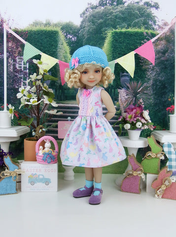 Pastel Easter - dress and hat with shoes for Ruby Red Fashion Friends doll