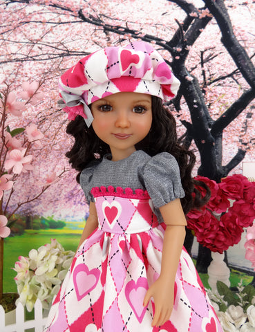 Plaid Hearts - dress and shoes for Ruby Red Fashion Friends doll
