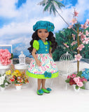 Pretty Peacock - dress & jacket with shoes for Ruby Red Fashion Friends doll
