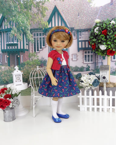 Sugared Cherries - dress and sweater with shoes for Ruby Red Fashion Friends doll