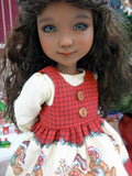 Teddy Bear Christmas - dress & pinafore for Ruby Red Fashion Friends doll