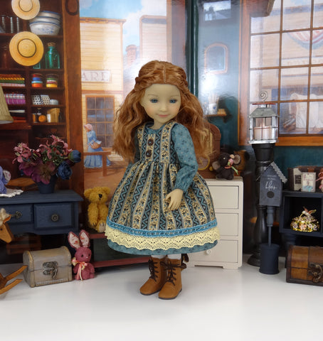 Village Mercantile - dress & pinafore with boots for Ruby Red Fashion Friends doll