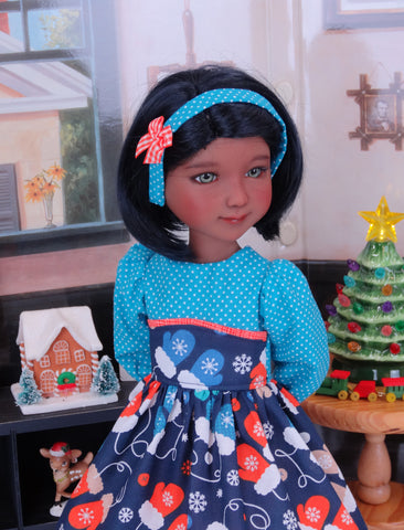 Warm Woolen Mittens - dress with shoes for Ruby Red Fashion Friends doll
