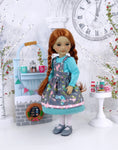 Wintertime Birds - dress & apron with shoes for Ruby Red Fashion Friends doll