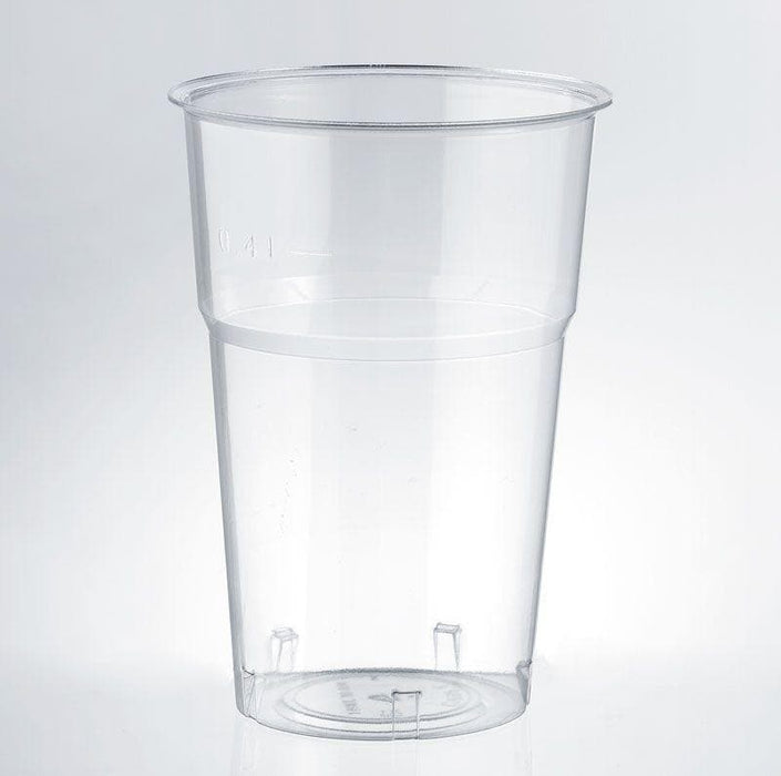 Clear Disposable Plastic Pint Glass 557ml - Crystal Polystyrene CE Stamped to Rim (Lid Sold Separately)