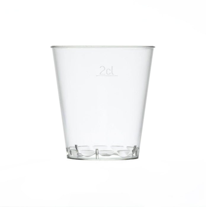30ml Clear Disposable Plastic Stacking Shot Glass - Crystal Polystyrene Capacity Marked to Line at 20ml