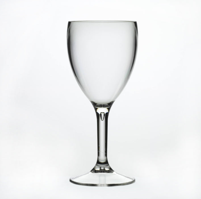 Clear Reusable Plastic Wine Glass 255ml  - Polycarbonate