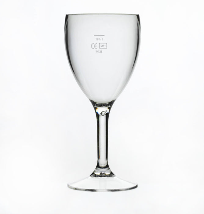 Clear Reusable Plastic Wine Glass . 255ml  Box of 12- Polycarbonate CE Stamped at 125ml / 175ml