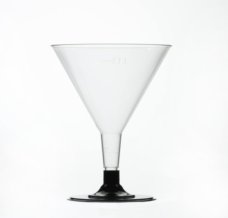Clear Disposable Plastic Cocktail Glass 150ml - Crystal Polystyrene Capacity Marked to Line at 100ml