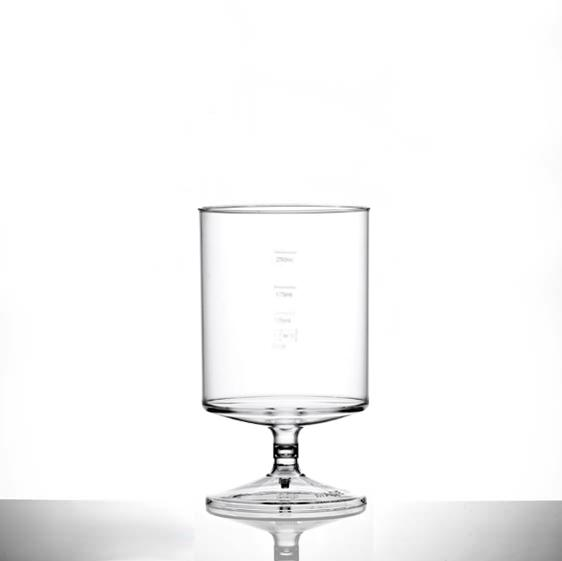 Clear Reusable Plastic Stacking Wine Glass 312.5ml - Crystal Polystyrene CE Stamped at 125ml/ 175ml & 250ml