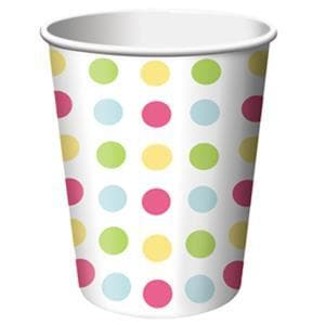 Disposable Polka Dot Party Cup 256ml Pack of 8- Paper