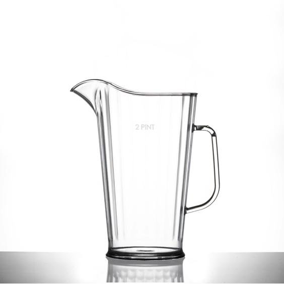 2 Pint Clear Reusable Plastic Jug 1136ml- Polycarbonate CE Stamped
