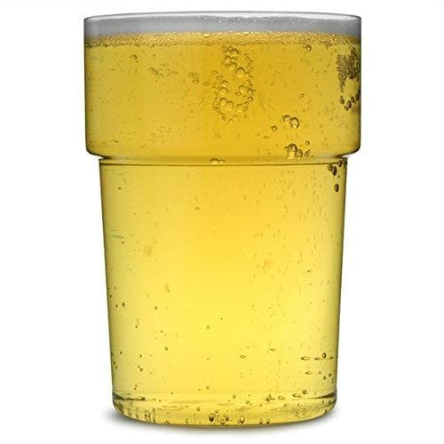 Clear Reusable Plastic Pint Glass 568ml - Crystal Polystyrene CE Stamped to Rim