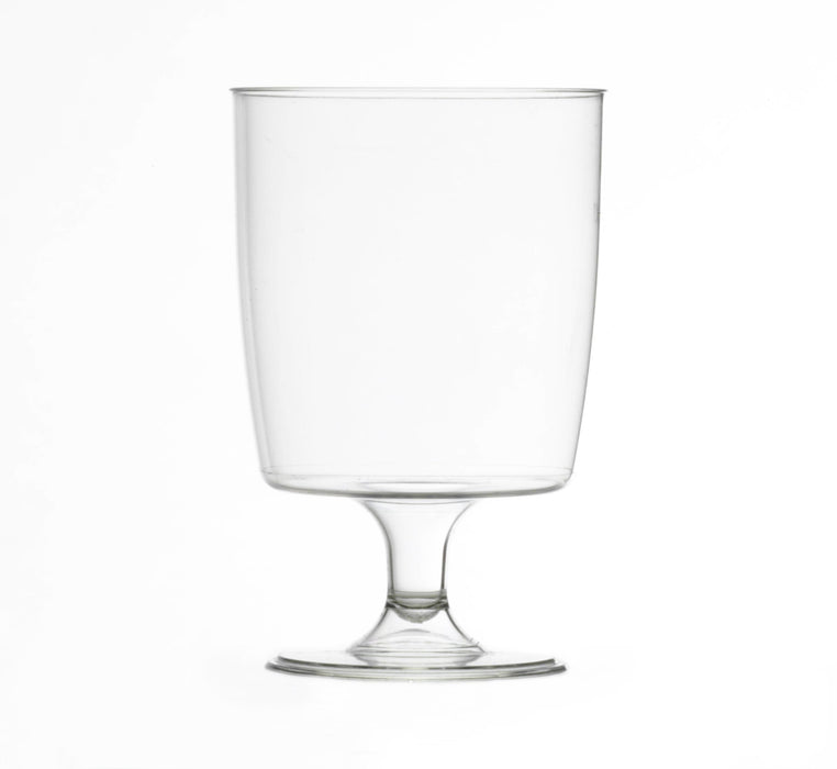 Clear Disposable Plastic Wine Glass 220ml - Crystal Polystyrene CE Marked to Line at 125 / 175 & 200ml