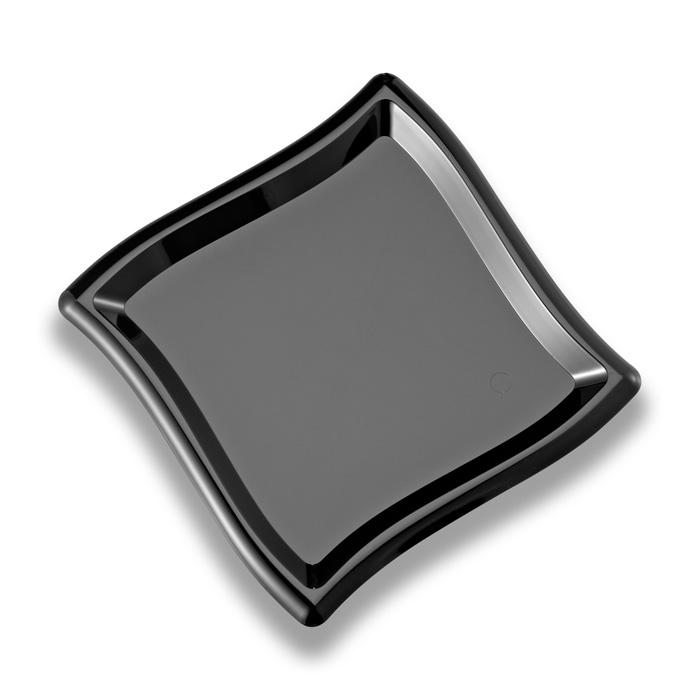 Black Disposable Plastic Square Wave Side Plate 175mm Pack of 10 - Polystyrene