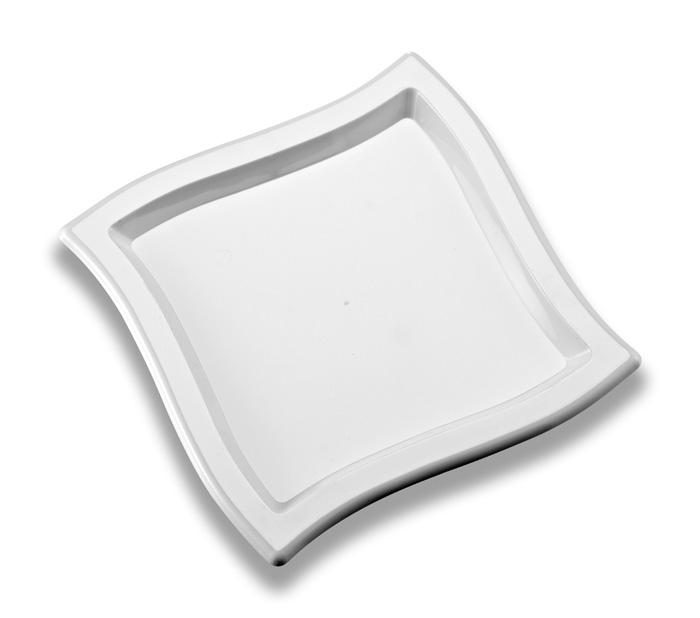 Coloured Disposable Plastic Square Wave Dinner Plate 255mm Pack of 10 - Polystyrene
