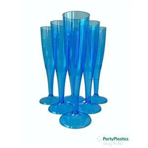 Coloured Disposable Plastic Champagne Flute - Crystal Polystyrene Capacity Marked to Line at 100ml