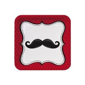 Disposable Square Moustache Madness Plate 230mm Pack of 8- Paper