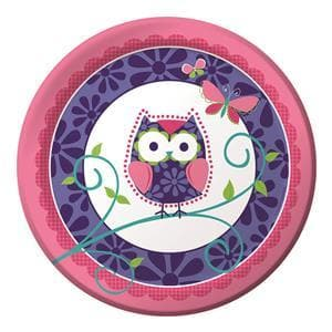 Disposable Owl Plate 230mm Pack of 8- Paper