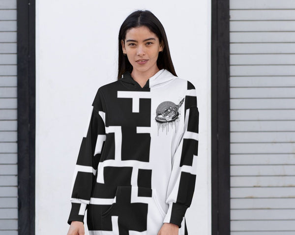 Footsteps Maze BW Hoody Dress