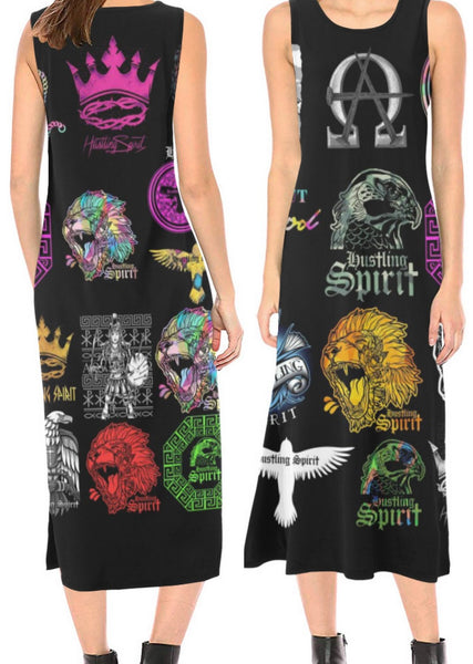 HS Stickers Sleevless  Open Fork Long Dress