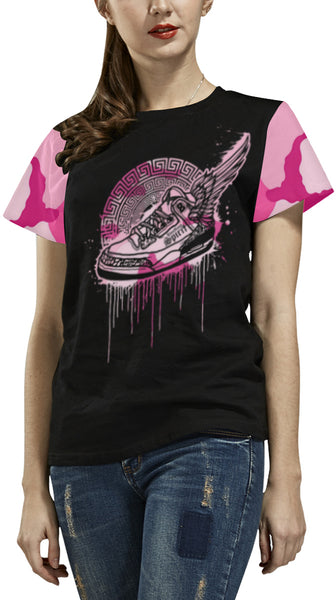 Footsteps Pink Cotton Candy All Over Print Tee