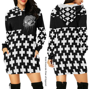 Footsteps Cross BW Hoody Dress