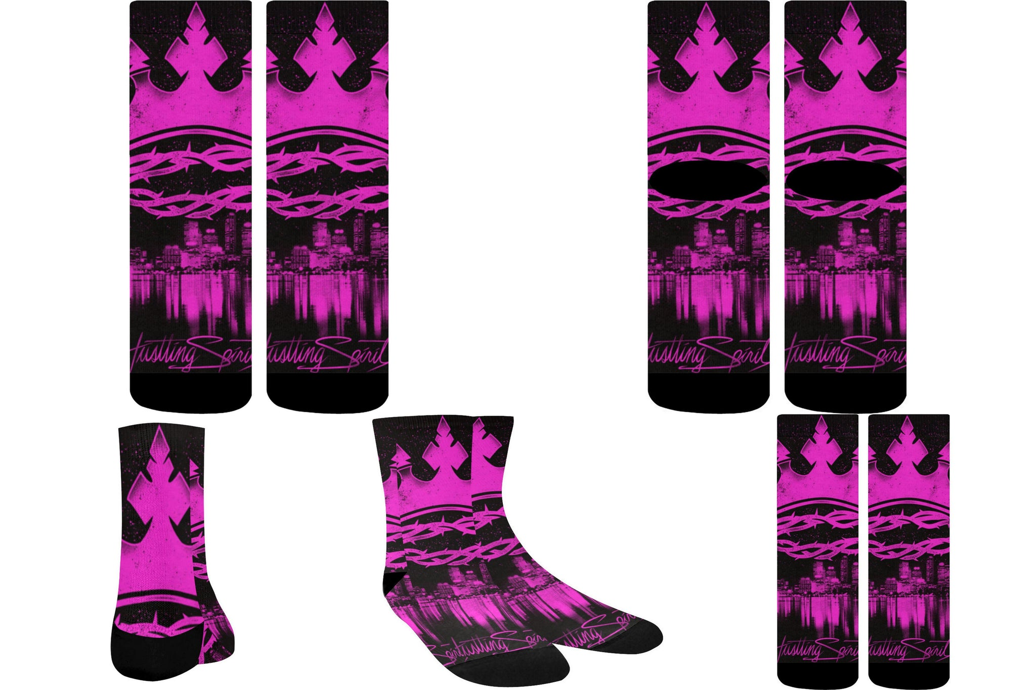 Pink Crown Crew Socks (1 Pair)