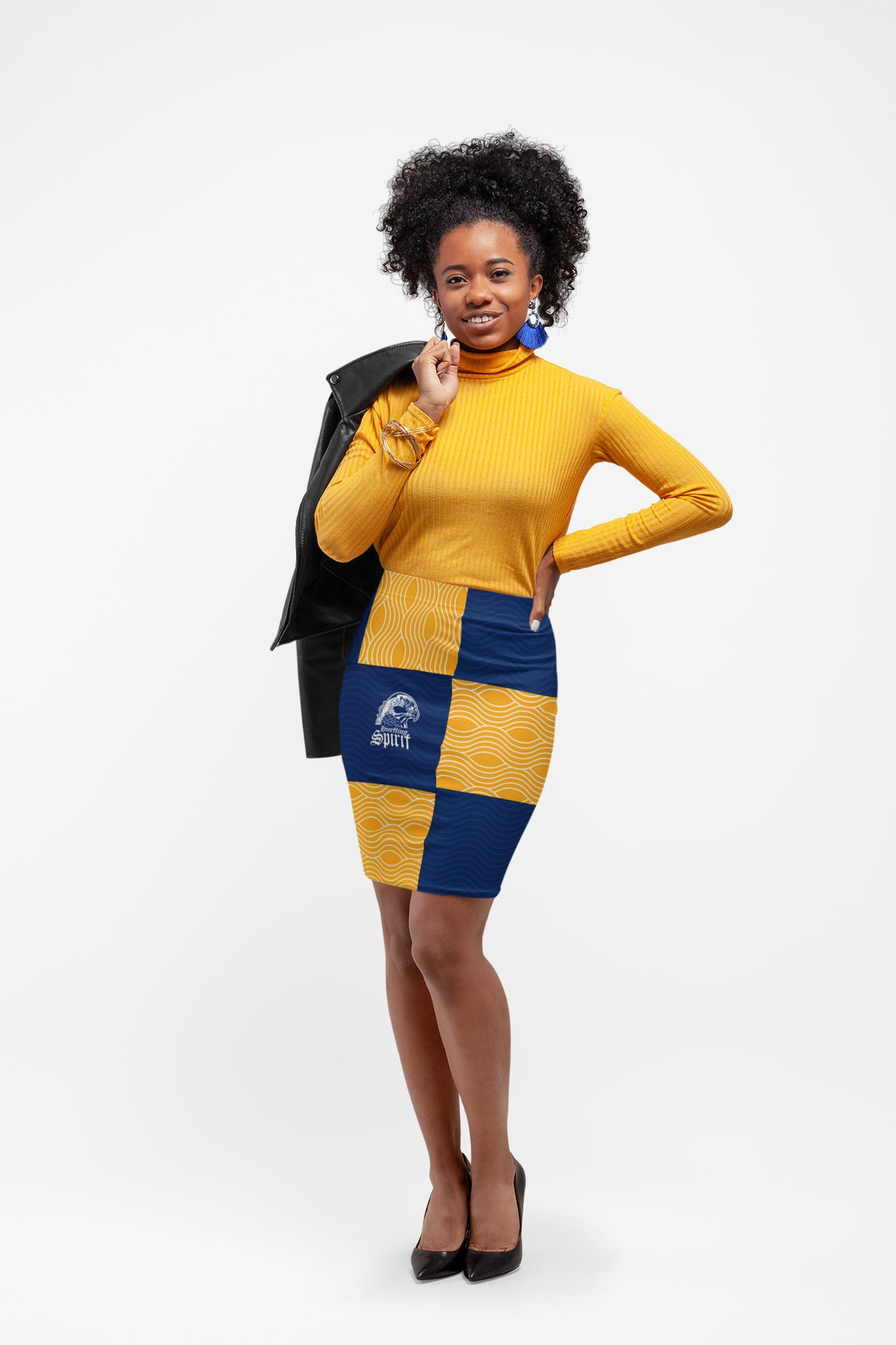 Raven Yellow and Blue Pencil Skirt