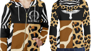 AΩ Zip Up HoodyAnimal Print
