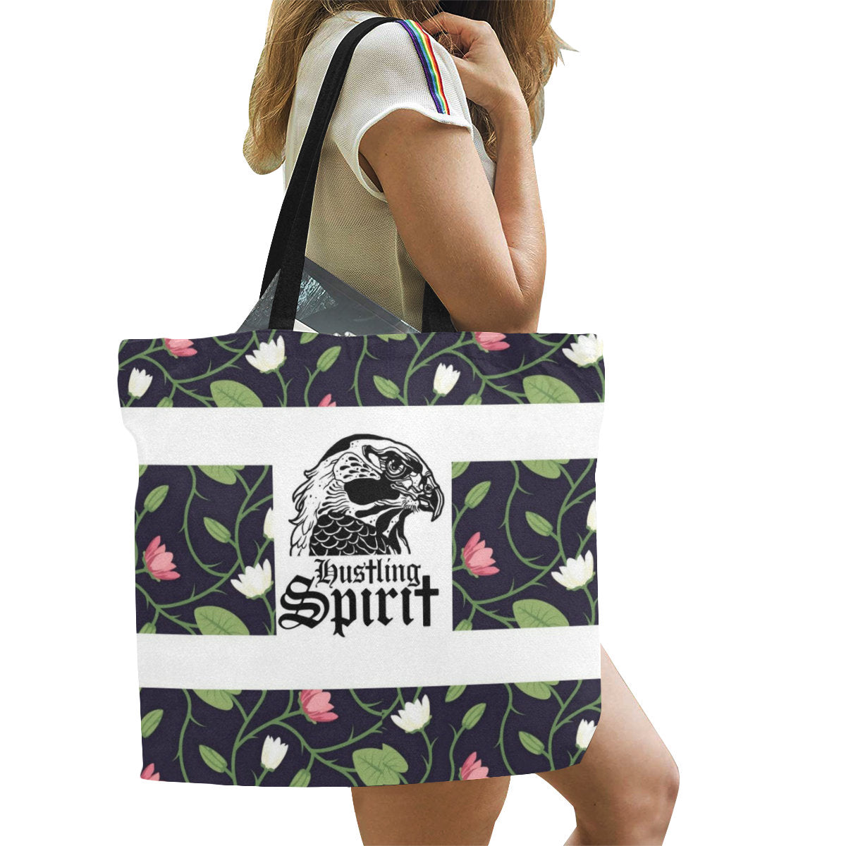 Raven Spring Flowers Large Tote Bag